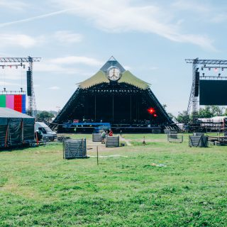 Image showing an empty stage and set at Glastonbury festival